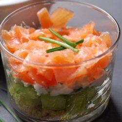 Verrines saumon et concombre
