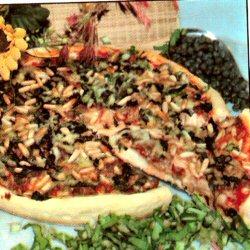 Pizza viande haché et épinards