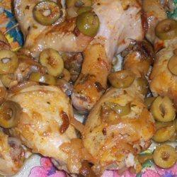 Poulet en sauce aux olives et champignons